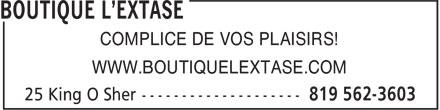Boutique L'Extase (819-562-3603) - Annonce illustrée======= - COMPLICE DE VOS PLAISIRS! WWW.BOUTIQUELEXTASE.COM
