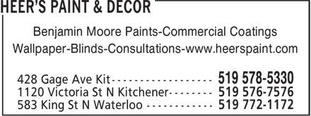 Heer's Paint & Decor (519-578-5330) - Display Ad - Wallpaper-Blinds-Consultations-www.heerspaint.com Benjamin Moore Paints-Commercial Coatings