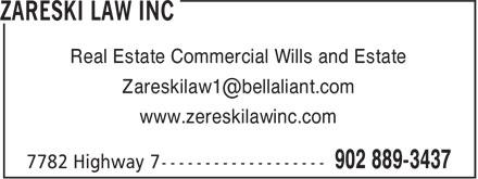 Zareski Law (902-889-3437) - Annonce illustrée======= - www.zereskilawinc.com Real Estate Commercial Wills and Estate