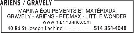 Ariens / Gravely (514-364-4040) - Display Ad - MARINA ÉQUIPEMENTS ET MATÉRIAUX GRAVELY - ARIENS - REDMAX - LITTLE WONDER www.marina-inc.com