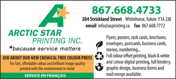 Arctic Star Printing Inc (867-668-4733) - Display Ad -