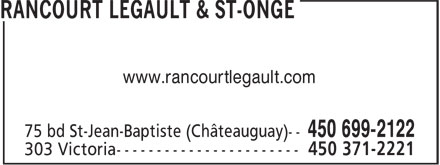 Rancourt Legault & St-Onge (450-699-2122) - Annonce illustrée======= - www.rancourtlegault.com