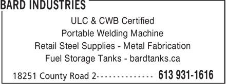 Bard's Welding (613-931-1616) - Annonce illustrée======= - Retail Steel Supplies - Metal Fabrication Fuel Storage Tanks - bardtanks.ca ULC & CWB Certified Portable Welding Machine