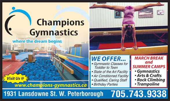Champions gymnastics peterborough on 1931 lansdowne for 24 hour tanning salon near me
