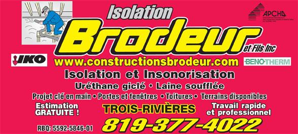 Construction brodeur et fils inc 1292 ch des petites for Reparation porte et fenetre trois rivieres