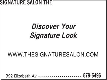 The Signature Salon (709-579-5496) - Display Ad - Discover Your Signature Look WWW.THESIGNATURESALON.COM