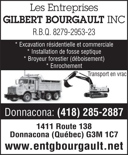 Entreprises Gilbert Bourgault (418-285-2887) - Annonce illustrée======= -