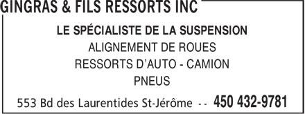 Gingras & Fils Ressorts Inc (450-432-9781) - Annonce illustrée======= - LE SPÉCIALISTE DE LA SUSPENSION ALIGNEMENT DE ROUES RESSORTS D'AUTO - CAMION PNEUS