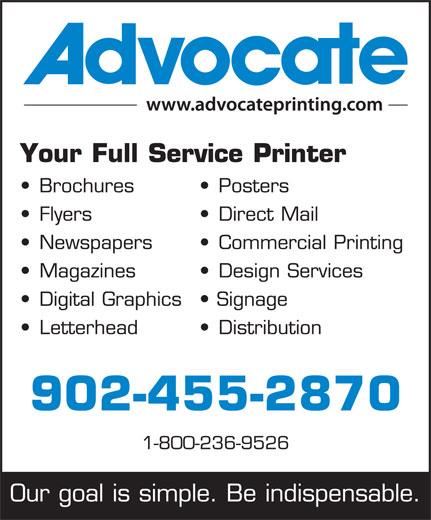 Advocate (902-422-3666) - Annonce illustrée======= -