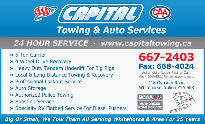 Capital Towing & Auto Service (867-667-2403) - Display Ad -