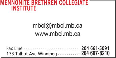 Mennonite Brethren Collegiate Institute (204-667-8210) - Annonce illustrée======= - www.mbci.mb.ca