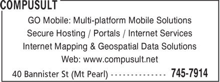 PODS Tender Delivery Service Provided by Compusult (709-745-7914) - Annonce illustrée======= - GO Mobile: Multi-platform Mobile Solutions Secure Hosting / Portals / Internet Services Internet Mapping & Geospatial Data Solutions Web: www.compusult.net