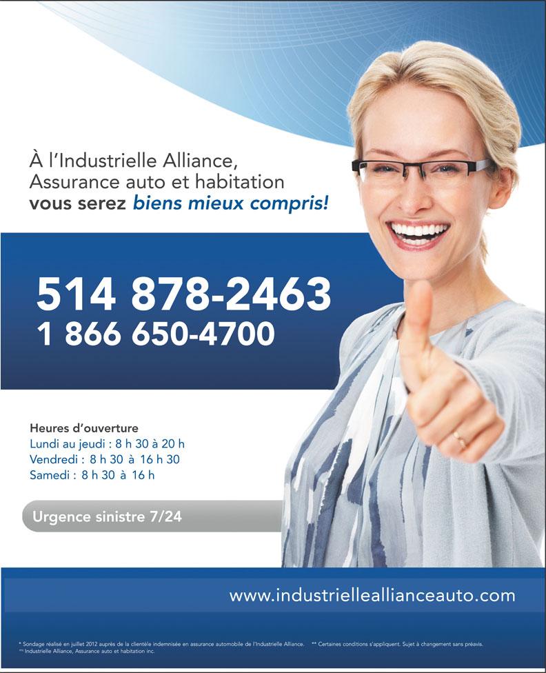 Industrielle Alliance Assurance Auto et Habitation (1-866-650-4700) - Annonce illustrée======= -