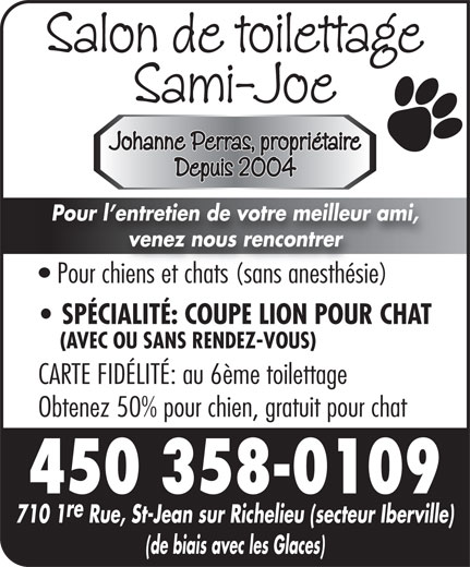 Salon de toilettage sami joe 710 1re rue saint jean - Jeux de salon de toilettage pour animaux gratuit ...
