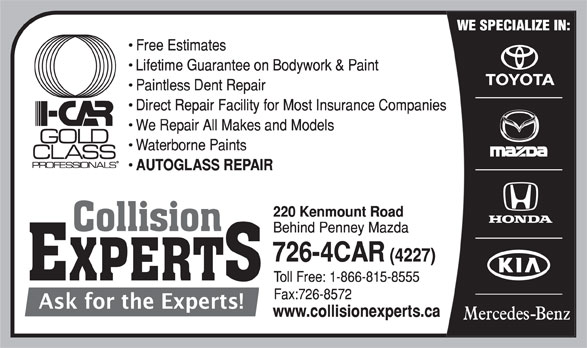 Collision Experts (709-726-4227) - Annonce illustrée======= -