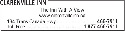 Clarenville Inn (709-466-7911) - Display Ad - www.clarenvilleinn.ca The Inn With A View