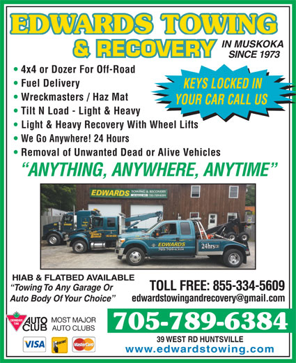 Edwards Towing & Recovery 39 West Rd Huntsville ON