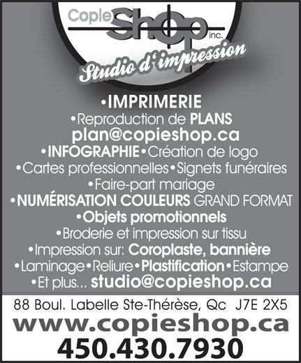 Copie Shop Photocopie Inc (450-430-7930) - Annonce illustrée======= -