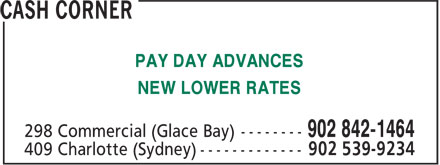 Cash Corner (902-842-1464) - Annonce illustrée======= - NEW LOWER RATES PAY DAY ADVANCES