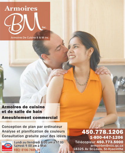 Armoires de cuisine b m inc 18325 av saint louis for Armoires de cuisine et plus inc