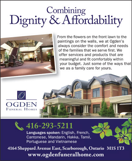 Ogden Funeral Homes (416-293-5211) - Display Ad -