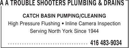 A A Trouble Shooters Plumbing & Drains (416-483-9034) - Annonce illustrée======= - CATCH BASIN PUMPING/CLEANING High Pressure Flushing • Inline Camera Inspection Serving North York Since 1944