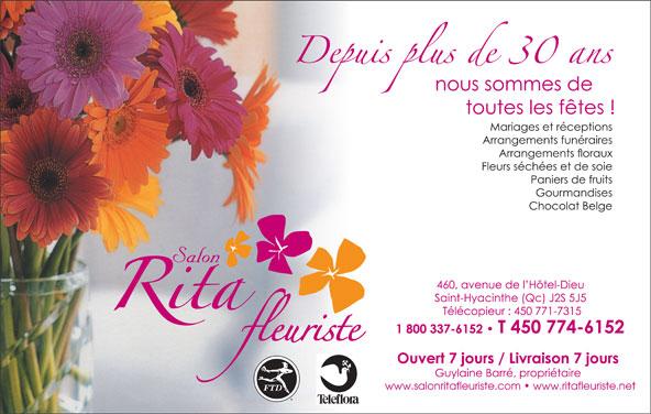 Rita Fleuriste (450-774-6152) - Annonce illustrée======= - www.salonritafleuriste.com   www.ritafleuriste.net