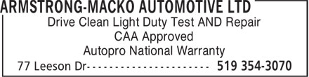 NAPA Autopro (519-354-3070) - Annonce illustrée======= - Drive Clean Light Duty Test AND Repair CAA Approved Autopro National Warranty