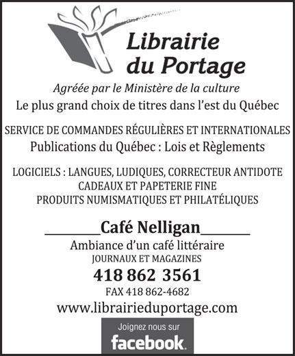 Librairie du Portage (418-862-3561) - Annonce illustrée======= -