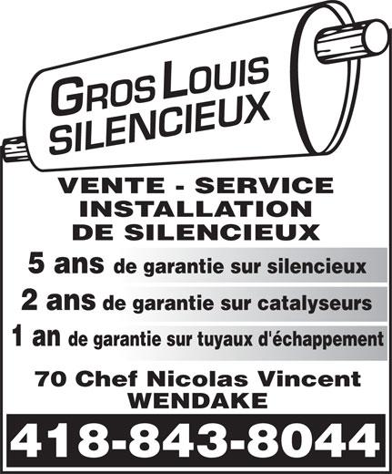 Gros-Louis Silencieux (418-843-8044) - Annonce illustrée======= -