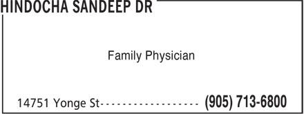 Dr Sandeep Hindocha (905-713-6800) - Annonce illustrée======= - Family Physician