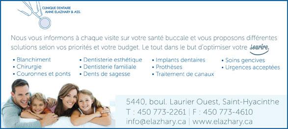 Clinique Dentaire Anne Elazhary (450-773-2261) - Annonce illustrée======= -