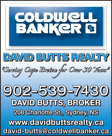 David Butts Realty Ltd (902-539-7430) - Annonce illustrée======= - 902-539-7430 DAVID BUTTS, BROKER 208 Charlotte St., Sydney, NS www.davidbuttsrealty.ca