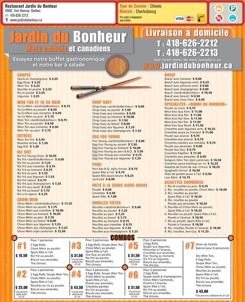 Jardin du bonheur restaurant 4560 1re av qu bec qc for Cafe jardin menu