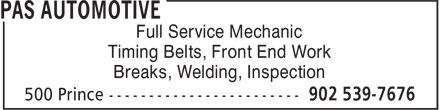 Pas Automotive (902-539-7676) - Annonce illustrée======= - Full Service Mechanic Timing Belts, Front End Work Breaks, Welding, Inspection