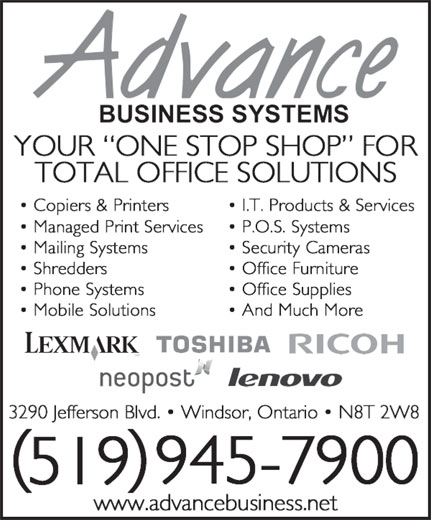 Advance Business Systems (519-945-7900) - Annonce illustrée======= -