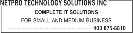 NETPRO Technology Solutions Inc (403-875-8810) - Annonce illustrée======= - COMPLETE IT SOLUTIONS FOR SMALL AND MEDIUM BUSINESS
