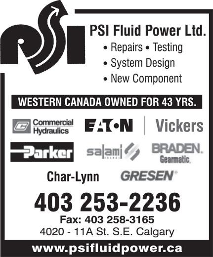 P.S.I. Fluid Power Ltd (403-253-2236) - Display Ad -