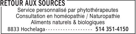 Retour Aux Sources (514-351-4150) - Annonce illustrée======= - Service personnalisé par phytothérapeutes Consultation en homéopathie / Naturopathie Aliments naturels & biologiques