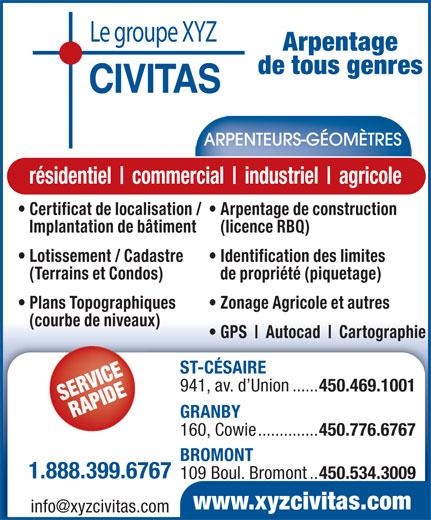 Le groupe xyz civitas arpenteurs g om tres 941 av de l 39 union saint c saire qc - Regles de construction en limite de propriete ...
