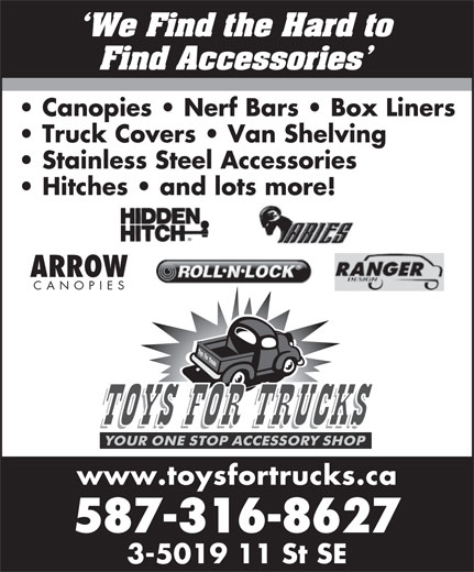 Toys For Trucks Inc (403-207-9267) - Display Ad -