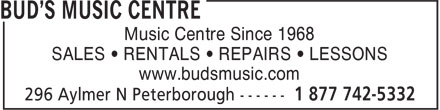 Long and McQuade (705-742-5332) - Display Ad - Music Centre Since 1968 SALES • RENTALS • REPAIRS • LESSONS www.budsmusic.com