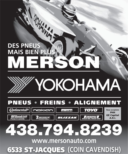 Merson (514-487-5545) - Display Ad - 438.794.8239 www.mersonauto.com (COIN CAVENDISH) 6533 ST-JACQUES