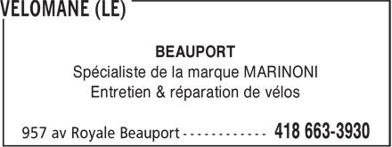 Vélomane (Le) (418-663-3930) - Annonce illustrée======= - BEAUPORT Spécialiste de la marque MARINONI Entretien & réparation de vélos