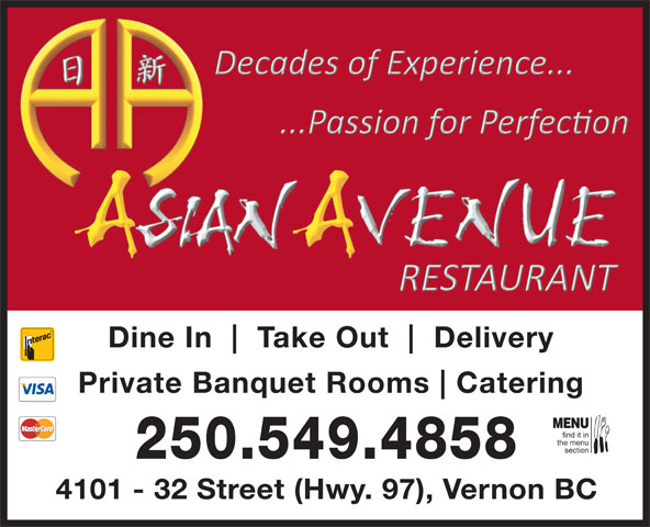 Yat Sen Restaurant (250-549-4858) - Annonce illustrée======= - MENU Catering find it in the menu section 250.549.4858 4101 - 32 Street (Hwy. 97), Vernon BC Take Out Delivery Private Banquet Rooms Dine In