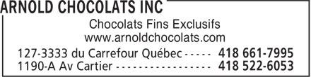 Arnold Chocolats (418-661-7995) - Annonce illustrée======= - Chocolats Fins Exclusifs www.arnoldchocolats.com