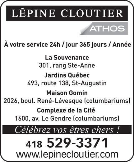 Lépine Cloutier-ATHOS (418-529-3371) - Annonce illustrée======= - Célébrez vos êtres chers !