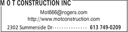 M O T Construction Inc (613-749-0209) - Annonce illustrée======= - http://www.motconstruction.com