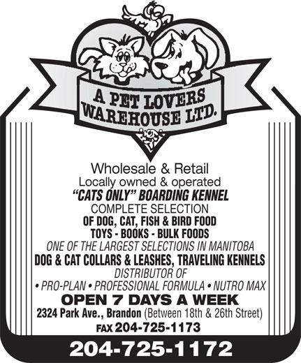 A Pet Lovers Warehouse Ltd (204-725-1172) - Display Ad -