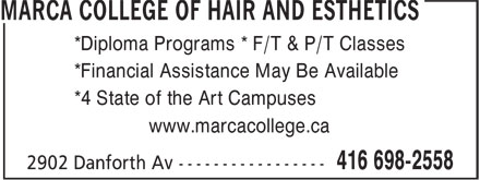 Marca College Of Hair And Esthetics (416-698-2558) - Display Ad -